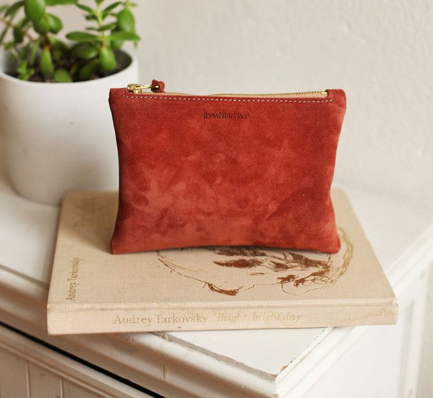Clutches – Amber Suede Leather Clutch | Cosmetic Purse – a unique product by thewhiteribbon on DaWanda