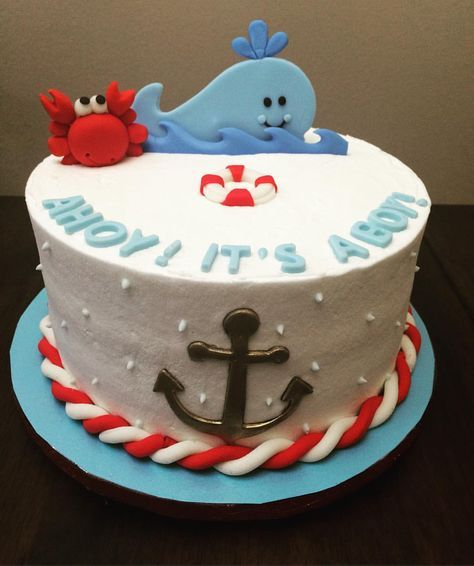 Nautical Baby Shower Cake See this Instagram photo by @verycherrycakes • 22 likes