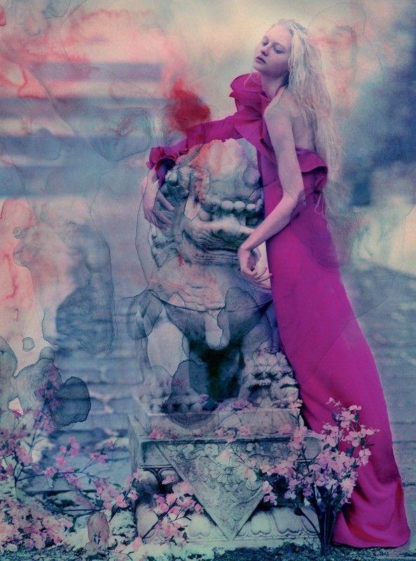 Jeff Bark photography. Model-Nastya Kusakina, wears Gucci. Photographed for Dazed and Confused Magazine