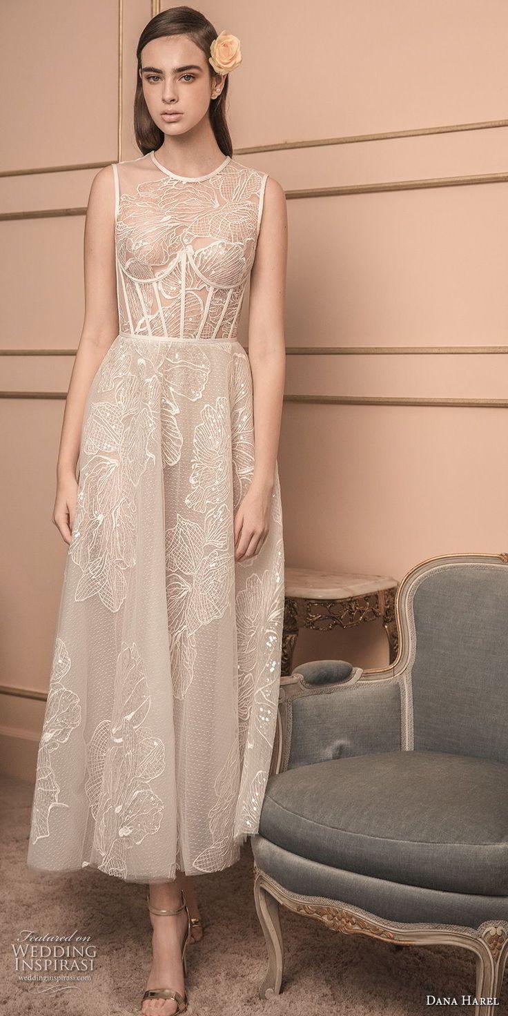 dana harel 2018 bridal sleeveless jewel neck heavily embellished bodice bustier romantic tea length short wedding dress sheer lace back (6) mv -- Dana Harel 2018 Wedding Dresses