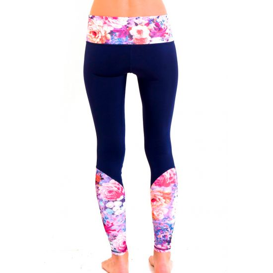 TEVITA OM CONTRAST PRINT YOGA TIGHTS- navy yoga / fitness / sportswear / activewear / pilates / health / boho / tevita / tevitalifestyle / lifestyle / gym / print / pattern / floral / pink