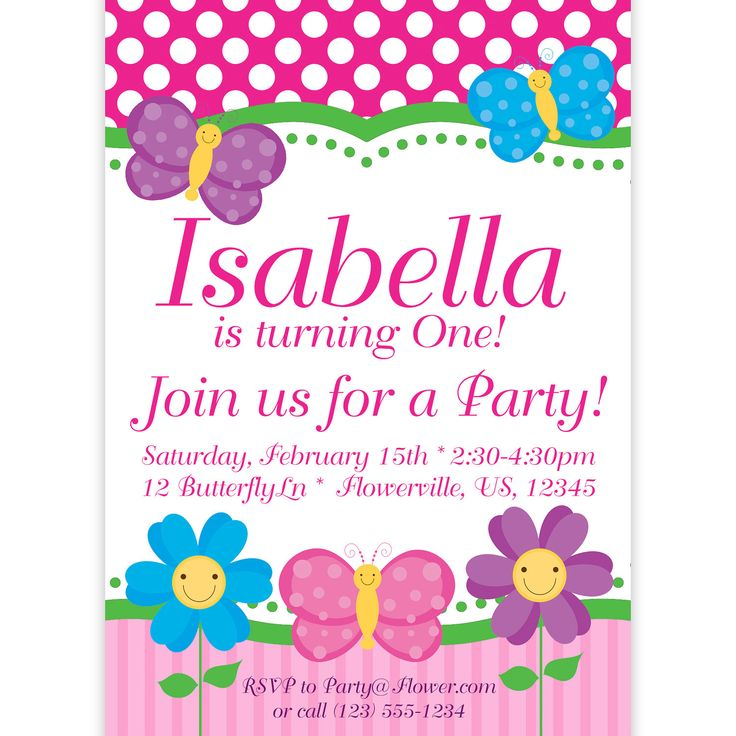 Butterfly Invitation Pink Polka Dots and por PurpleBerryInk