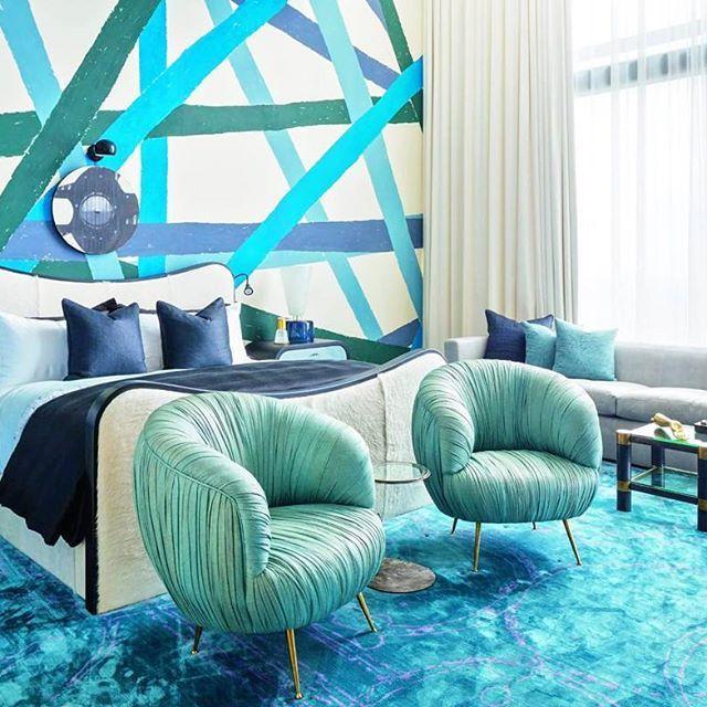 Blue bedroom dreams in award winning journalist and former CNN profile Whitney Casey's dreamhouse in Austin, Texas in brave design by Kelly Wearstler. Ph: Stephan Julliard #interiordesign #bedroom #bedroominspo #interior #design #interiors #dreamhouse #cnn #dreamhouse #austin #texas
