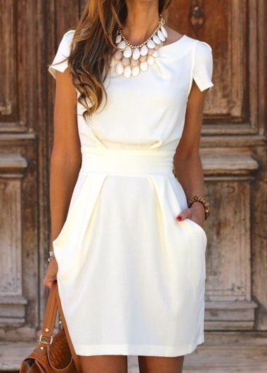 Blanca de cuello redondo diseño del bolsillo del mini vestido :: Fashionerly