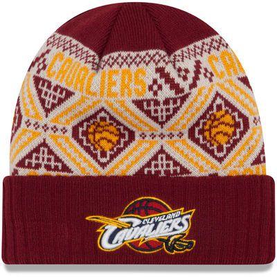 Cleveland Cavaliers New Era Current Logo Cozy Cuffed Knit Hat - Wine