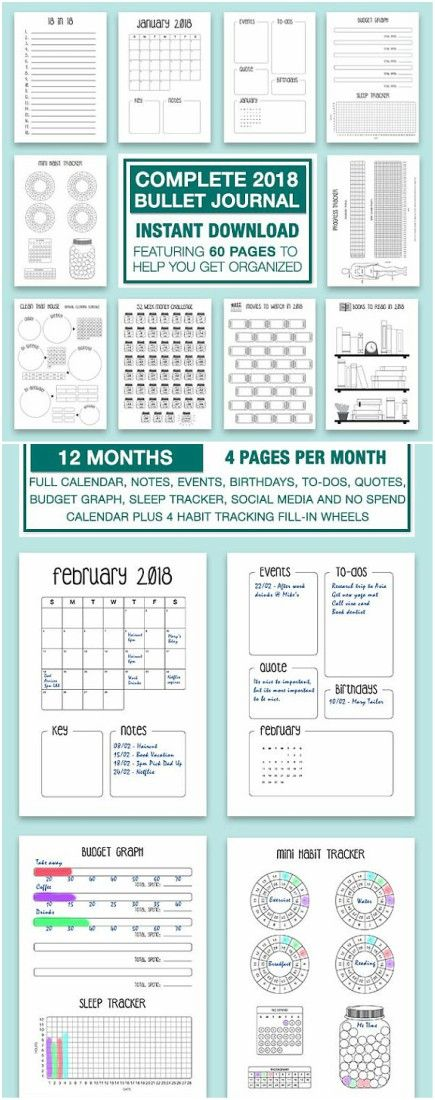 Complete 2018 Bullet Journal to help keep your year in order and on track. #ad #bulletjournal #bulletjournalprintable #bujo #printables #planners