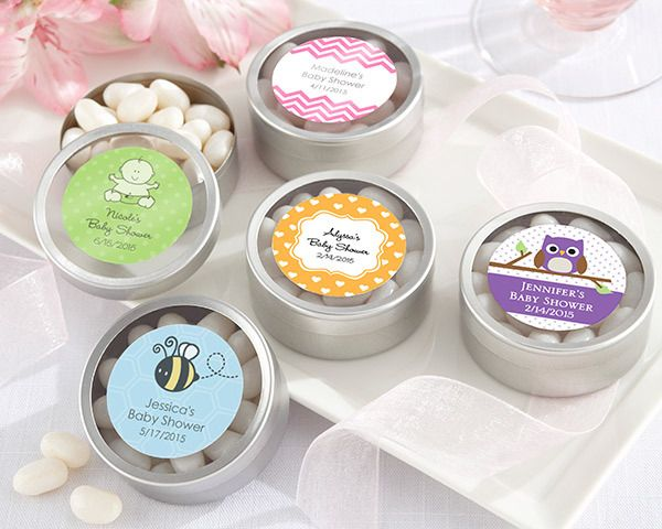 """""""""""Simply Sweet"""" Round, Personalised Candy Tin - Baby Design (set of 12)"""""""