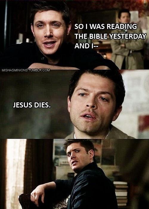 Spoiler alert lolololol: Misha Collins, Dean O'Gorman, Book, Spoilers Alert, Dean Winchester, Case, So Funny, Supernatural Funny, Jesus Love