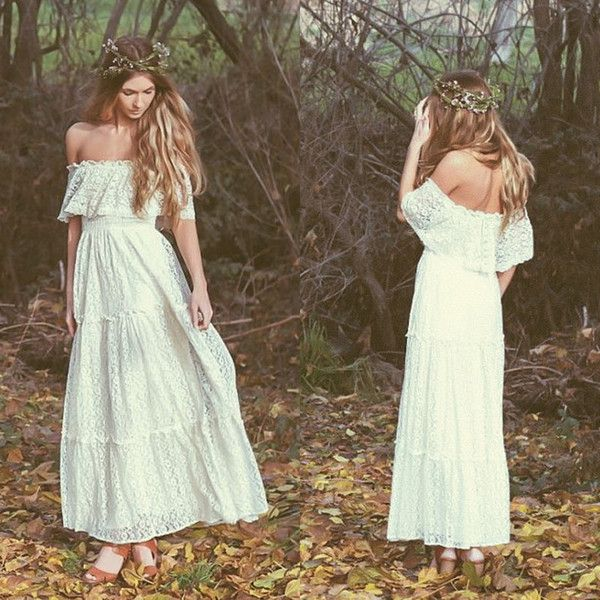 Cheap Bohemian 2017 Vintage Wedding Dress Off The Shoulder Lace Ivory Or White Hippie Embroidered Maxi Bridal Gowns 61303 As Low