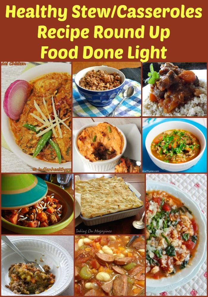 Healthy StewsCasseroles Recipe Round Up Food Done Light #healthyrecipes #healthystews #healthycasseroles #healthyfall #halloweenrecipes #comfortfood