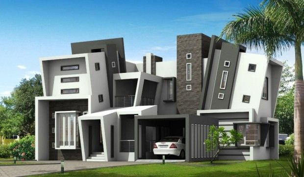 exterior of modern residence design with uncommon architecture, Hause deko