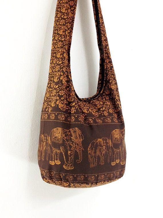 Women Bag Handbags Cotton Elephant Hippie Hobo Boho Shoulder Sling Messenger Tote Crossbody Purse Brown Trunklove