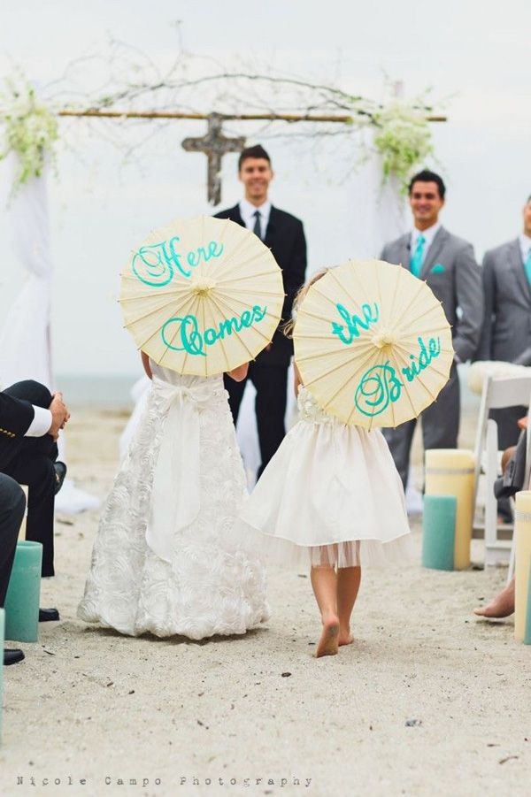 creative here come the brides ideas for beach weddings