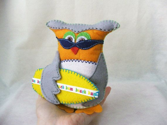Felt owl   Beach bum owl  Matt  MADE TO ORDER by buligaia on Etsy, $32.00