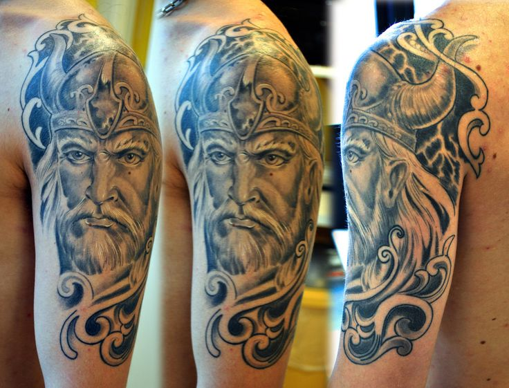 amazing-grey-ink-viking-tattoo-on-left-half-sleeve.jpg (1023×781)