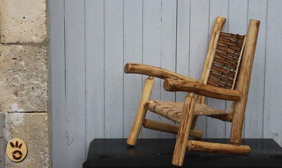 Fauteuil ch taignier bois et rondin pour enfant meubles for Le pere du meuble furniture
