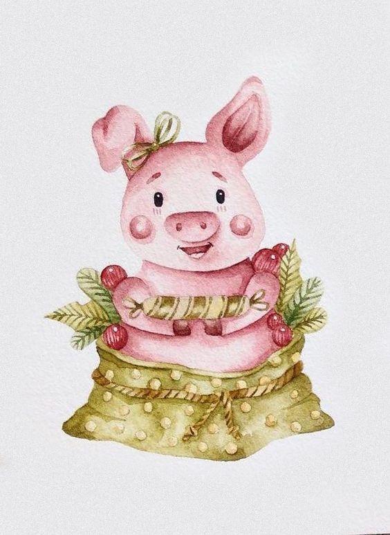 Открытки свинок
