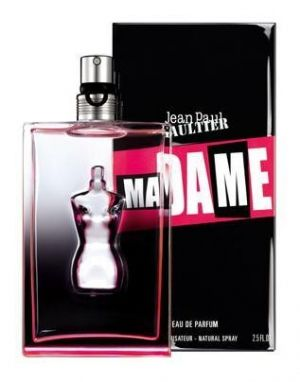 Ma Dame by Jean Paul Gaultier.   Its intense composition includes notes of black roses wrapped in patchouli, refreshed by spicy pink pepper on the background of musk and cedar.