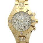 G-watches gouden kast met strass steentjes.
