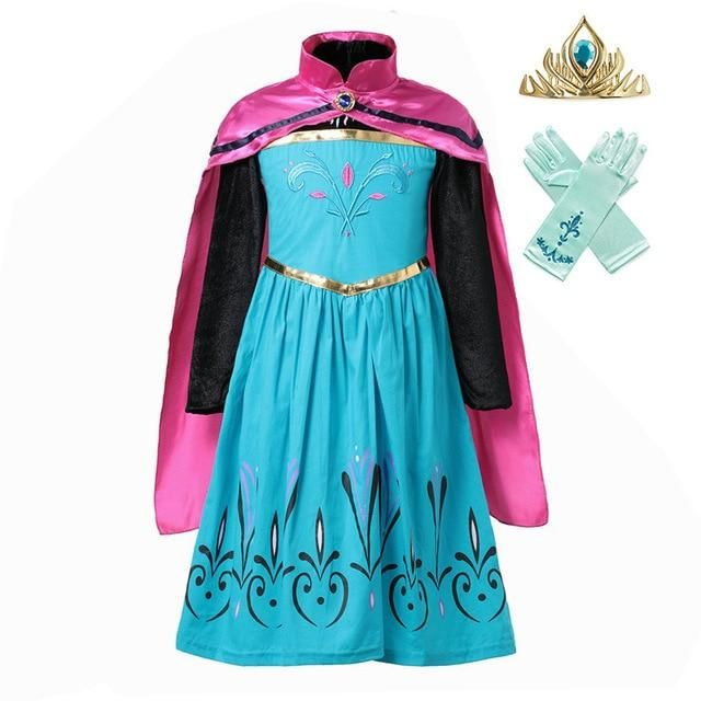 NEW FROZEN ELSA CORONATION DRESS COTTON LONG CAPE COSTUMES GOWN KIDS GIRLS