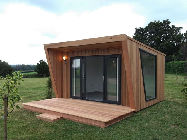 Pinnacle 4x3m clad in cedar with sliding door and window combination in graphite grey, feature picture window and extra decking, from £11,99...