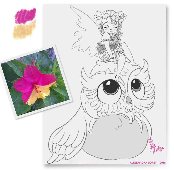 My moonflower fairy #owl #girl #fairy #flower #magic #moonflower #nature #fantasy #fly #night #love #pink #yellow #colors #sketch