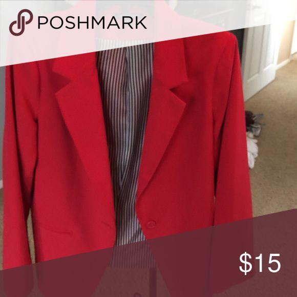 Red Blazer Red blazer with black & white strips inside For Cynthia Jackets & Coats Blazers