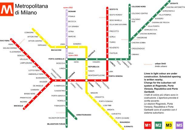 Milano Metro Map (wikicommons: Ita140188)
