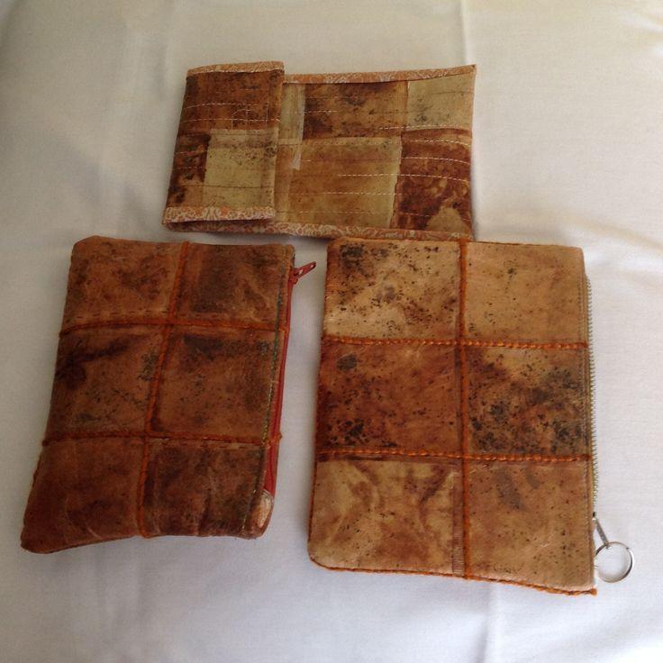 Tea bags!   used teabags, acrylic wax, bondaweb, fabric lining