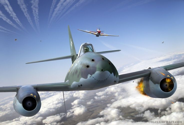 WWII Aviation Art Me 262 'Yellow 5' Tuskegee P 51 Mustang by Ron Cole | eBay