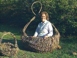Ruth Duncan in Kudzu Basket - reusable bags and craft paper can also be made from kudzu.  check out kudzu's culinary and medicinal uses as well.