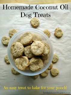 Homemade Coconut Oil Dog Treats : An easy treat to bake for your pooch! These may help with your dogs itching/allergies. Seems to aid with my dogs itching! He LOVES these healthy treats & I will continue to make them ♥