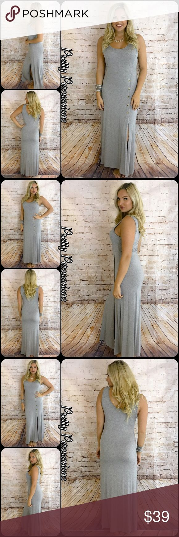 """NWT Heather Gray Button Slit Jersey Maxi Dress NWT Heather Gray Button Slit Jersey Maxi Dress   Available in size: Medium  Length: 56"""" Bust: 36"""" Hips: 40""""  95% Rayon; 5% Spandex   Features:  • relaxed, easy fit • very soft material with stretch • scooped neckline  • 5 button detailing at top of slit on left side of dress starting from the hip down • sleeveless  Bundle discounts available  No pp or trades   Item # 1/106120390GMD heather gray button slit maxi jersey soft stretch Pretty…"""