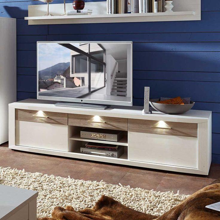 TV Board Mit LED Beleuchtung Weiss Taupe Jetzt Bestellen Unter Moebelladendirektde Wohnzimmer Tv Hifi Moebel Lowboards Uid60ca9292 5688 5337