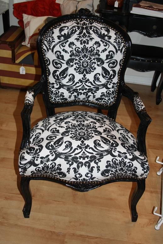 Black Damask Chair | French Louis Black And White Damask Shabby Chic Chair