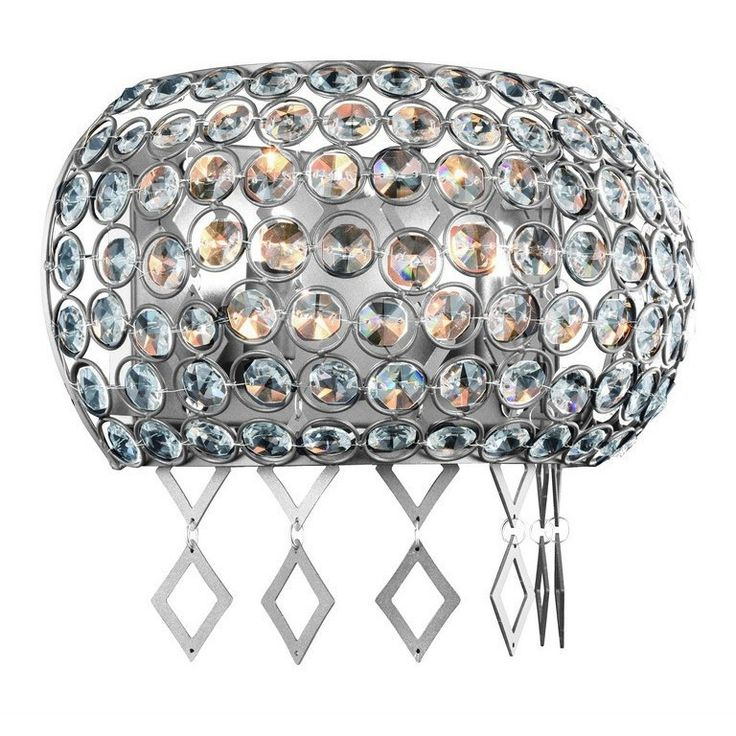 """Brida Collection Wall Sconce W:12"""" H:6"""" E:6.1"""" Lt:2 Chrome Finish Royal Cut Clear"""