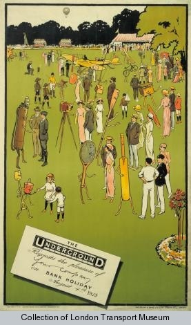 Bank holiday; August, by Charles Sharland, 1913    Published by Underground Electric Railway Company Ltd, 1913  Printed by Waterlow & Sons Ltd,  Format: Double royal  Dimensions: Width: 635mm, Height: 1016mm  Reference number: 1983/4/356