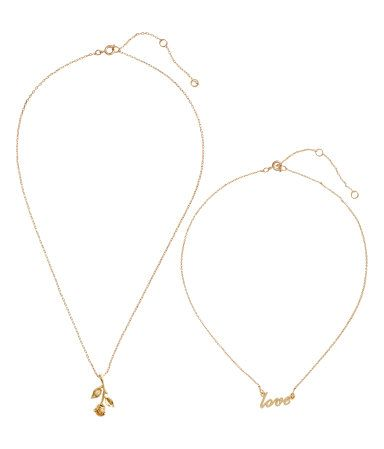 2-pack Necklaces | Gold-colored | WOMEN | H&M US
