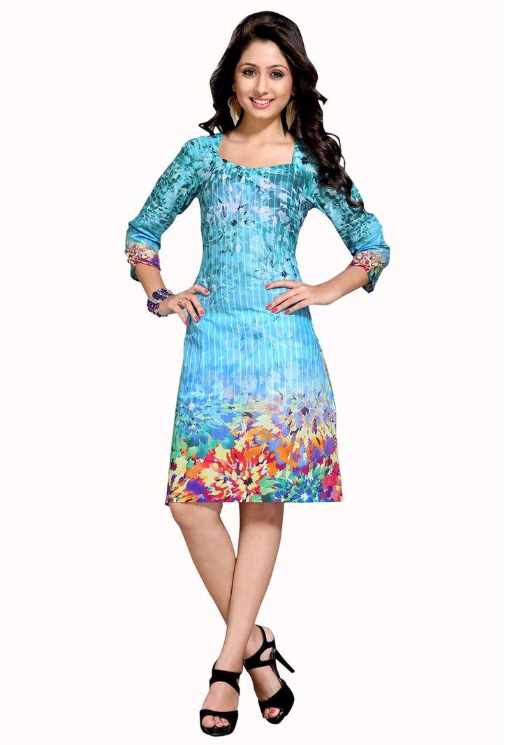 #Sky #Blue #Cotton #Kurti.  #Sky #Blue #Cotton #Printed #Work #Kurti.  INR: 770.00  With Exclusive Discount  Grab: http://tinyurl.com/gvkf9cm