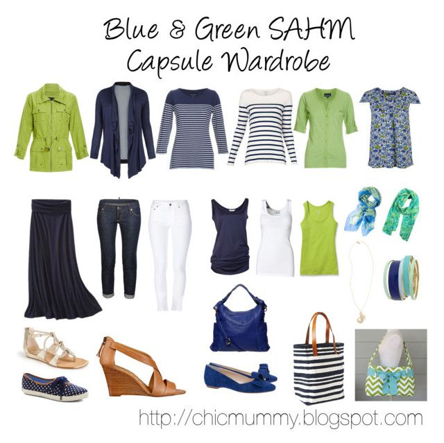 """""""Blue & Green SAHM Capsule Wardrobe"""" by chicmummy ❤ liked on Polyvore"""