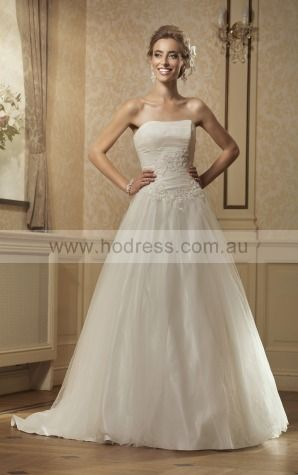 Sleeveless Lace-up Tulle Strapless Ball Gown Wedding Dresses gecf1001--Hodress