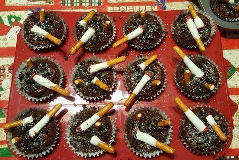 Ashtray cupcakes white trash party Chocolate cupca…