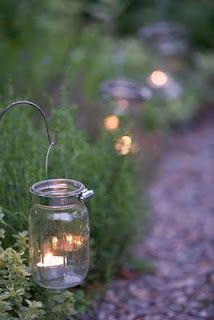 Great idea to use hose clampsGardens Ideas, Paths, Outdoor, Teas Lights, Gardens Lights, Pathways, Jar Lights, Mason Jars Candles, Jars Lights