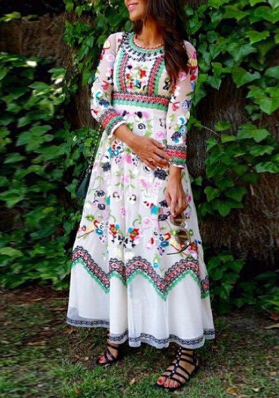 White Floral Print Long Sleeve Bohemian Maxi Dress