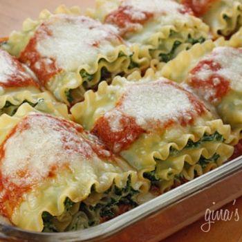 Spinach lasagna rolla