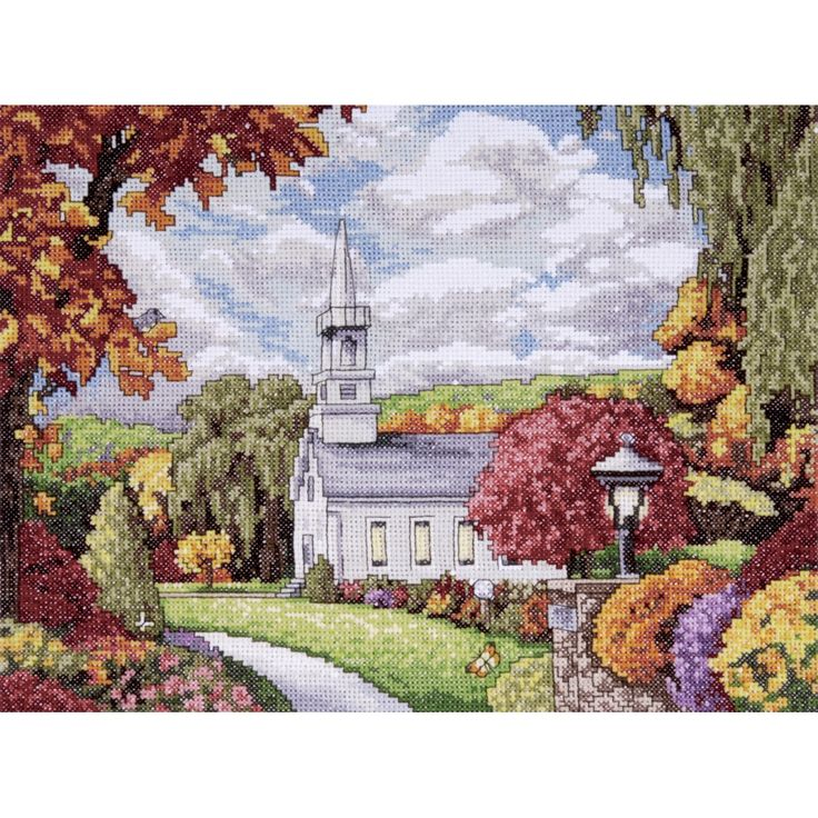 Fall Inspiration Counted Cross Stitch Kit-9X12in 14 Count