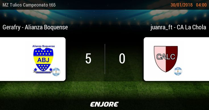 MZ Tulios Liga t65 - 2° jornada • Gerafry - Alianza Boquense 5 - 0 juanra_ft - CA La Chola https://www.enjore.com/es/match/6753837/gerafry-alianza-boquense-juanra_ft-ca-la-chola/