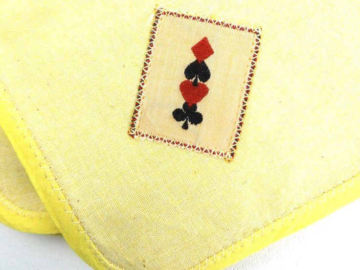 gift. napkins. linens. gift for him. gift for her. womens. mens. mom gift. dad gift. gift for friend. housewarming gift. yellow. poker. http://etsy.me/2F41ZRk #housewares #yellow #housewarming #fathersday #square #black #linen #gift #napkins