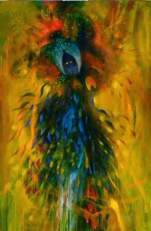 SINCRONIA: MÁS ALLÁ DE LAS APARIENCIAS Imagen: Baño con hojas del árbol del arco iris by Carlos Jacanamijoy, 200x132 cm, 2013