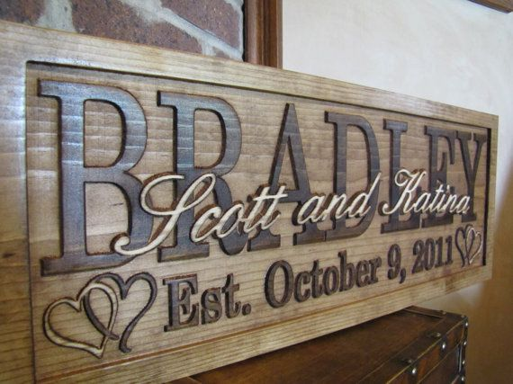 Personalized Family Name Signs CARVED Custom by Lovejoystore, $59.99